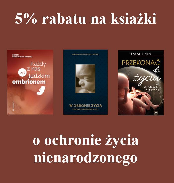 Baner promocji na książki o tematyce obrony życia nienarodzonego